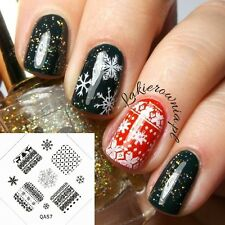 Christmas Reindeer Sweater Snow Nail Art Stamp Decals Nails Stamping Plate #03