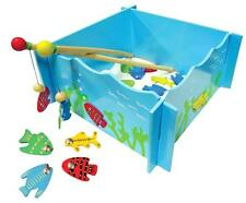 NEW WOODEN Magnetic Fishing Game in Box - 4 Rods & 20 Pieces to Fish - 28 x 28cm
