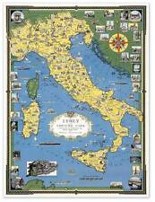 """Color Map of ITALY w Vatican City circa 1944 - 24"""" x 32"""" Europe Art Print Poster"""