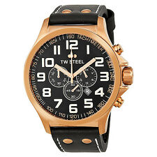 TW Steel TW419 Men's 48mm Rose Gold PVD Black Dial Chronograph Black Strap Watch