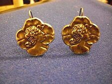 Antique Art Nouveau Sterling Silver Clover Lady Head Hook Earrings 1900s Belgium