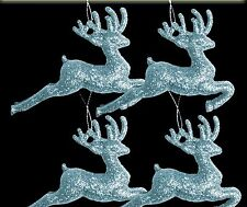 12 x Pale Ice Blue Glitter Reindeers Christmas tree Baubles Decorations