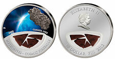 Abee METEORITE silver coin! $10 Fiji, only 999 made! Cosmic Fireballs, CANADA