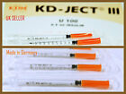 0.5ml KDM Hypodermic Syringe U 100 30G(8 mm)CE marked,GERMAN fixed needle (x 20)