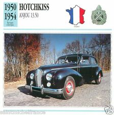 HOTCHKISS ANJOU 13.50 1950 1954 CAR  VOITURE FRANCE CARTE CARD FICHE