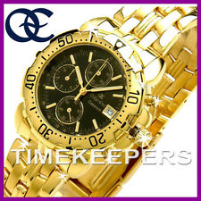 Gents Mens Oskar Emil Caesium 23K Gold Chronograph Sports Black Dial Watch £345
