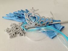 ELSA FROZEN HEART Wand Gloves Crown Princess Accessories Set Anna Wig Age 4-12