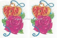 LOT OF 2 - ROSE AND HEART LOCK GLITTER  CLEARANCE temporary Tattoo