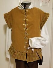 Renaissance Doublet (XLg) - Mustard with Red & Green accents