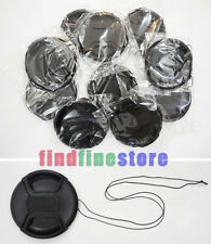 10pcs 86mm Center-Pinch Front Lens Cap + String for Nikon Canon Sony Olympus 10x