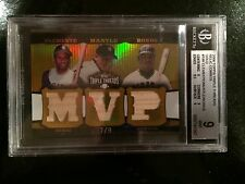 2006 TOPPS TRIPLE THREADS RELIC 3 GOLD CLEMENTE/ MANTLE/ BONDS -MINT 1 POP-RARE