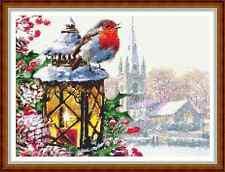 "'COUNTRY ROBIN' Cross Stitch Chart/Pattern (12½""x9¼"") Christmas/Birds/Xmas NEW"
