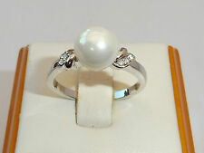 Ladies Art Deco Sterling 925 Silver Natural Pearl & White Sapphire Ring