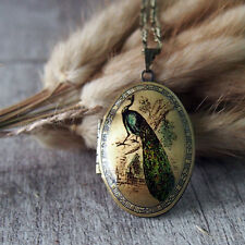 Peacock Necklace Brass Locket Pendant Necklace Handmade Necklace
