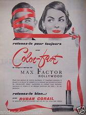 PUBLICITÉ 1956 COLOR-FAST ROUGE A LÈVRES DE MAX FACTOR HOLLYWOOD - ADVERTISING.