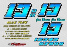 Blue Fade Race Car Numbers Vinyl Decals Late Model, Modified, Street Stock