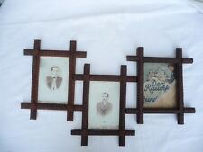 THREE VINTAGE TRAMP ART PICTURE FRAMES OLD PHOTOS 2 of the 3  MATCHING PAIR