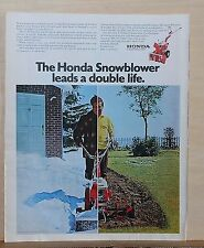 1970 magazine ad for Honda F-28 Snowblower Rototiller combo -Leads a double life