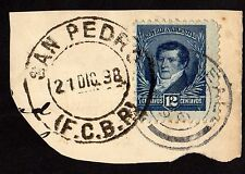 Stamp & CDS Postmark ~ SAN PEDRO Argentina BUENOS AIRES On Cut ~ 1898/1998