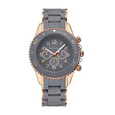 Timothy Stone Grey and Rose Gold AMBER SILICONE Womens Fashion Watch