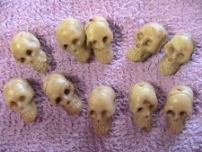 "10 SKULLS BEADS 7/8"" top to bottom drilled for jewelry craft costume steampunk++"
