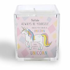 Personalised ALWAYS BE A UNICORN CANDLE Unicorn Lover Friend House Warming gift