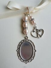 Wedding Bouquet Photo Charm Oval Silver Bouquet Locket & double heart charm