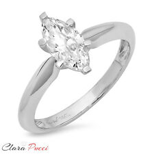 1.0ct  Marquise Cut Solitaire Engagement Wedding Ring Solid 14k White Gold