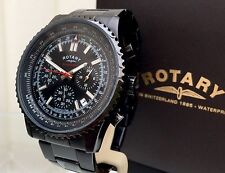 Rotary Mens Watch Black Ocean Range Chronograph RRP £190 Genuine (r51