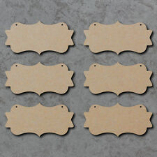 Blank Signs with Swirly Edges x6 (20cm x 10cm) - Wooden Laser Cut mdf Plaques