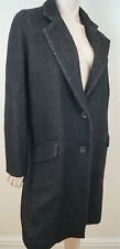 VANESSA BRUNO Brown & Black Wool Alpaca Mohair Single Breasted Winter Coat 40 12