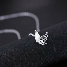 925 Sterling Silver -Korean Butterfly Hollow Pendant Necklace Women Party Pretty