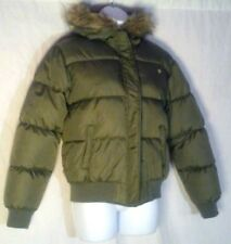 Southpole Olive-Green Lifeweight Down Winter Coat M Padded Women's Hooded Jacket
