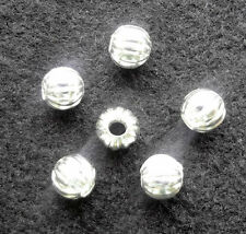 50pcs Silver Plated Round Pumpkin LANTERN Spacer Beads Jewelry Finding 5mm S-NGZ