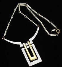Vintage CROWN TRIFARI Modernist White Enamel Geometric Choker Chain Necklace
