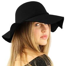 "Winter Soft Faux Wool Bow Hatband Floppy Wide Brim 3-1/4"" Dress Church Hat Black"