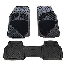 TOYOTA AURIS HYBRID HEAVY DUTY 3 PIECE RUBBER/CARPET CAR MATS BLACK