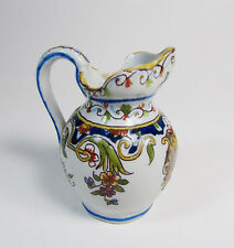 Antique French Faience Rouen Hand-Painted Pitcher