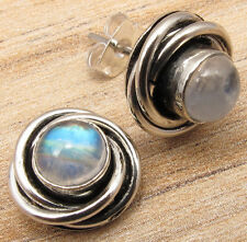 RAINBOW MOONSTONE Cabochon Gems Lovely Studs Posts Earrings 925 Silver Plated