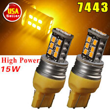 2X Amber/Yellow 7443 High Power 15W LED Parking Side Marker Light LED 7440 7444