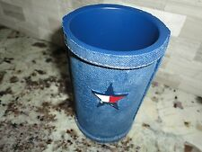 TOMMY HILFIGER CLASSICS TUMBLER CUP FLAG STAR RED BLUE DENIM CERAMIC BOYS