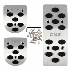 3x Silver AT Pedals Pads Automatic Nonslip Metal Car Gas Brake Non-Slip Covers