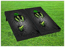 Custom Cornhole Boards BEANBAG TOSS GAME w Bags Green Monster Claw Set 478