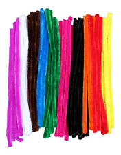 "50 GIANT Pipe Cleaners 30cm x 12mm Assorted Colours Chenille Craft 12"" Stems"