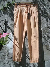 Fuga Denim Orange Distressed Stone Washed Cotton Cool Cargo Trousers XS NEW