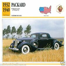 "PACKARD ""TWELVE"" 1932 1940  CAR VOITURE USA ETATS-UNIS CARTE CARD FICHE"