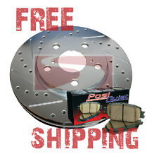 Town Car 95-97 FRONT Drill Slot Brake Rotors + POSI QUIET Ceramic Pads