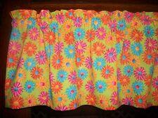 Crazy Daisy Retro Hippy med-century bedroom bath fabric curtain topper Valance