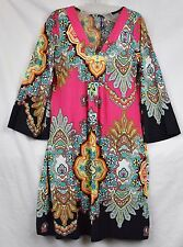 FUCHSIA & BLACK PRINT DRESS WHITE MARK Size L, V Neckline Above Knee Mini