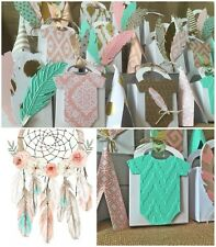 Aztec Tribal  Baby Shower Thank You Favor boxes Gold Turquoise Pink Customize~